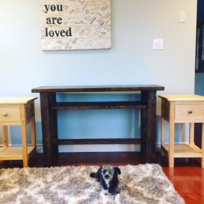 I built these two end tables and sofa tables for my sister. The dog is my other girl, Araya.