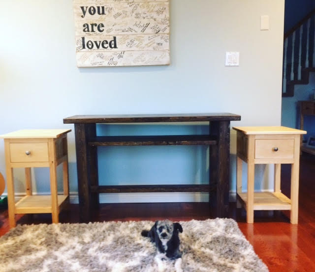 sofa table and two end tables