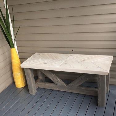Chevron porch bench