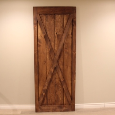 Stain the door and you're finished. Congratulations, you just built a barn door!